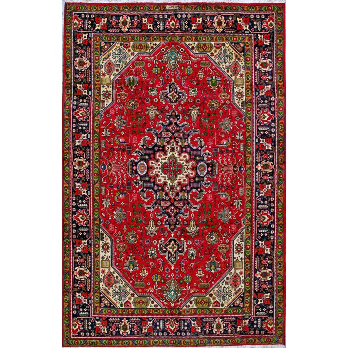 "https://www.armanrugs.com/ | 6' 7"" x 9' 10"" Red Tabriz Hand Knotted Wool Authentic Persian Rug"