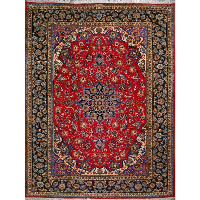 """https://www.armanrugs.com/   9' 10"""" x 13' 1"""" Red Esfahan Hand Knotted Wool Authentic Persian Rug"""