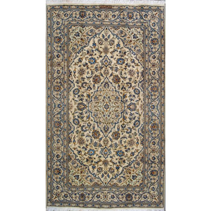 """https://www.armanrugs.com/   4' 9"""" x 8' 4"""" Beige Kashan Hand Knotted Wool Authentic Persian Rug"""
