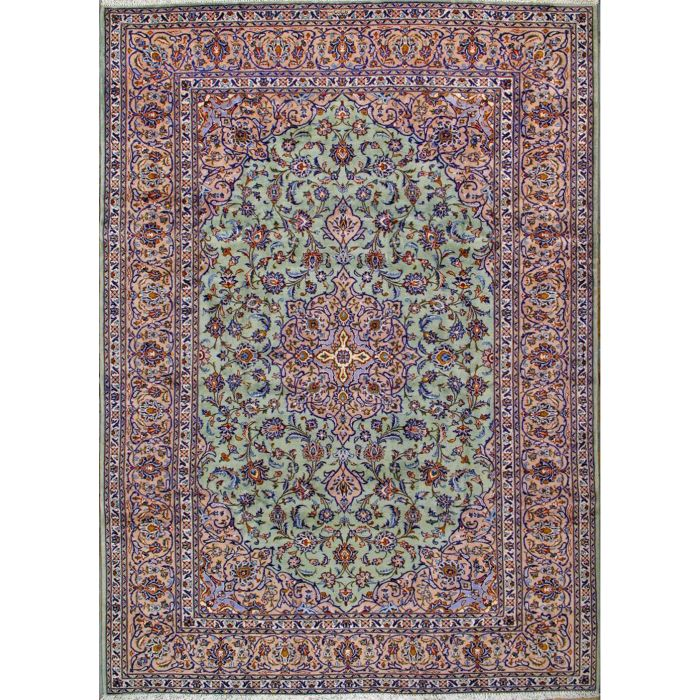 "https://www.armanrugs.com/ | 7' 10"" x 11' 0"" Green Kashan Hand Knotted Wool Authentic Persian Rug"