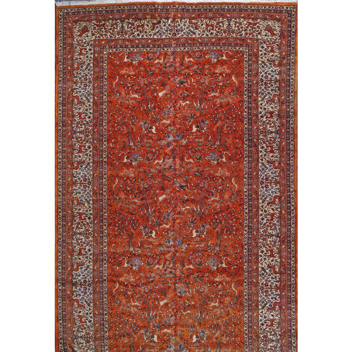 "https://www.armanrugs.com/ | 11' 0"" x 18' 6"" Orange  Tabriz Hand Knotted Wool Authentic Persian Rug"