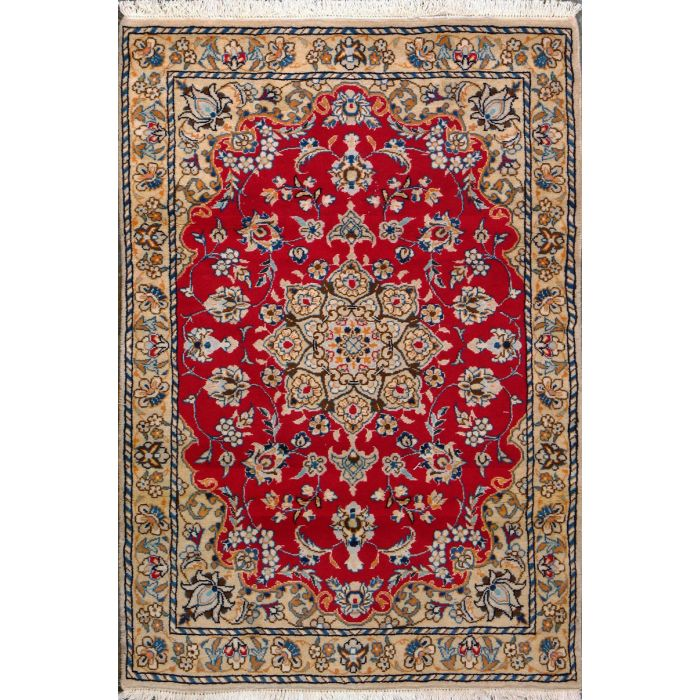 """https://www.armanrugs.com/   3' 3"""" x 4' 9"""" Red Nain Hand Knotted Wool & Silk Authentic Persian Rug"""