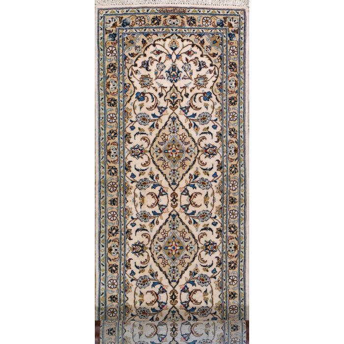"https://www.armanrugs.com/ | 2' 9"" x 10' 0"" Beige Kashan Hand Knotted Wool Authentic Persian Rug"