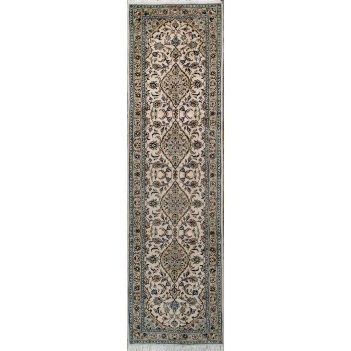 """https://www.armanrugs.com/   2' 7"""" x 9' 8"""" Beige Kashan Hand Knotted Wool Authentic Persian Rug"""