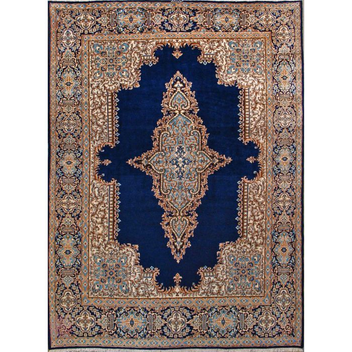 "https://www.armanrugs.com/ | 9' 2"" x 12' 6"" Navy Blue kerman Hand Knotted Wool Authentic Persian Rug"