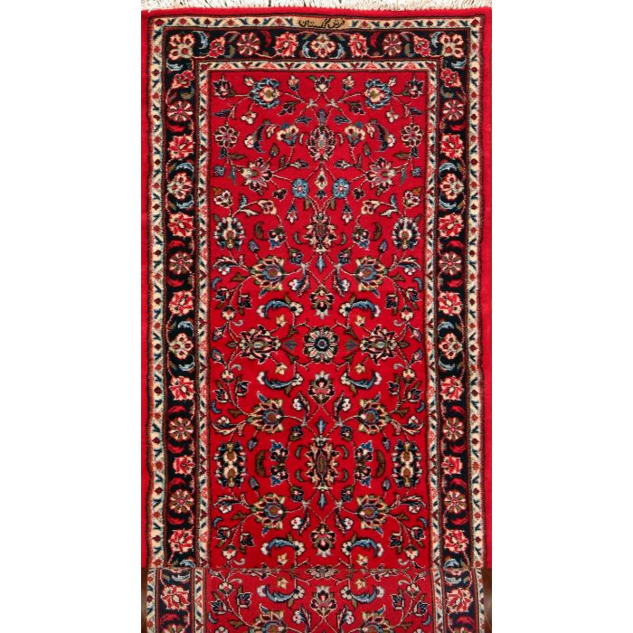 """https://www.armanrugs.com/   2' 6"""" x 9' 9"""" Red Kashan Hand Knotted Wool Authentic Runner Persian Rug"""