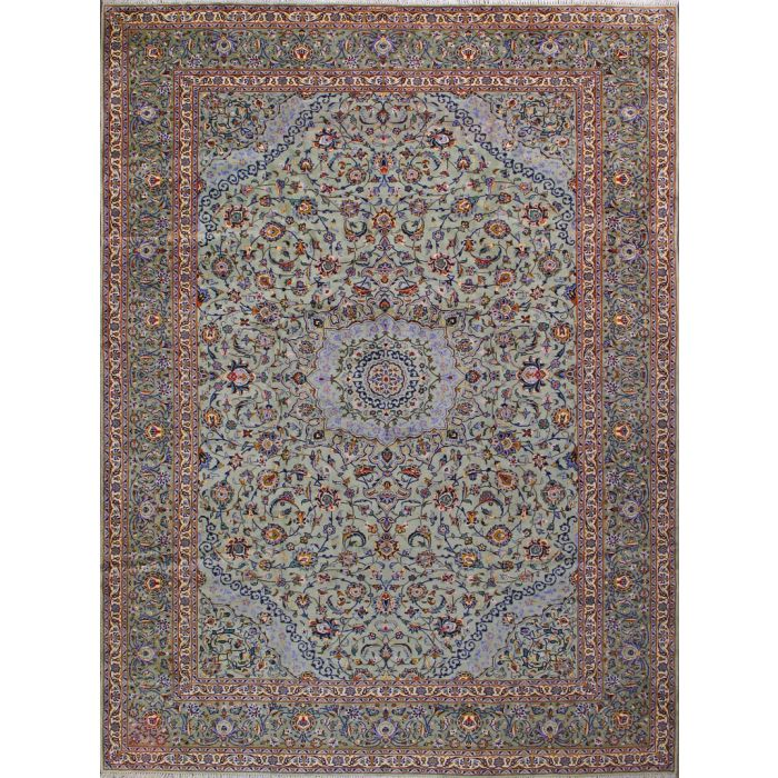 """https://www.armanrugs.com/   10' 2"""" x 13' 5"""" Green Kashan Hand Knotted Wool Authentic Persian Rug"""