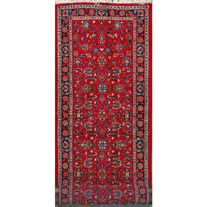 """https://www.armanrugs.com/   2' 7"""" x 9' 8"""" Red Kashan Hand Knotted Wool Authentic Runner Persian Rug"""