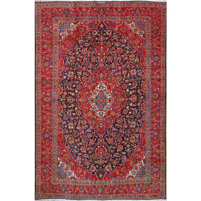 "https://www.armanrugs.com/ | 9' 10"" x 15' 1"" Navy Blue Kashan Hand Knotted Wool Authentic Persian Rug"