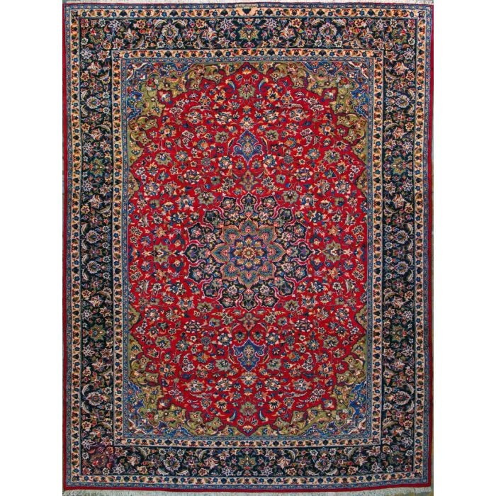 """https://www.armanrugs.com/   9' 8"""" x 13' 1"""" Red Esfahan Hand Knotted Wool Authentic Persian Rug"""