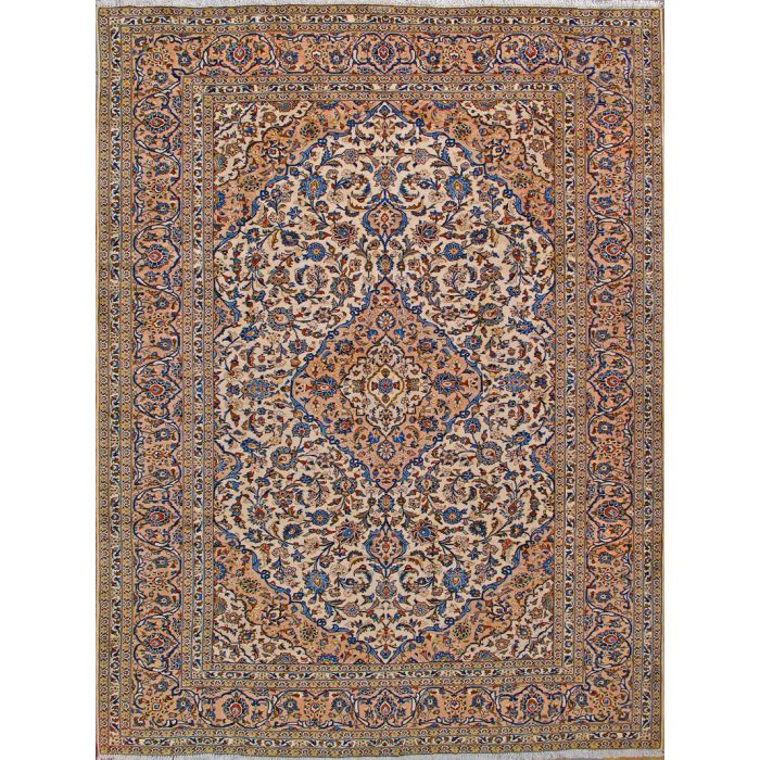 "https://www.armanrugs.com/ | 8' 3"" x 11' 2"" Beige Kashan Hand Knotted Wool Authentic Persian Rug"