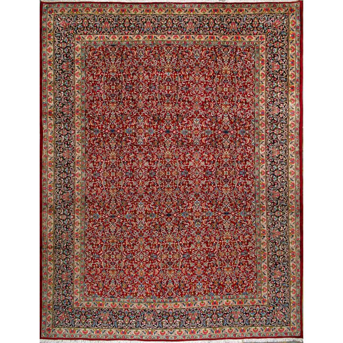 """https://www.armanrugs.com/   10' 0"""" x 13' 1"""" Red kerman Hand Knotted Wool Authentic Persian Rug"""