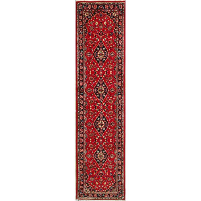 """https://www.armanrugs.com/   2' 6"""" x 10' 6"""" Red Kashan Hand Knotted Wool Authentic Runner Persian Rug"""