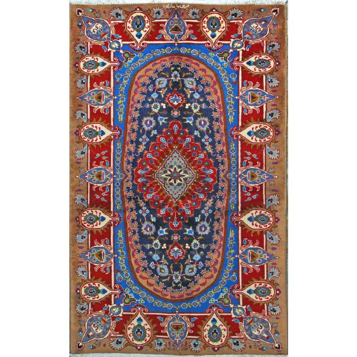 """https://www.armanrugs.com/   3' 8"""" x 6' 1"""" Navy Blue kashmar Hand Knotted Wool Authentic Persian Rug"""