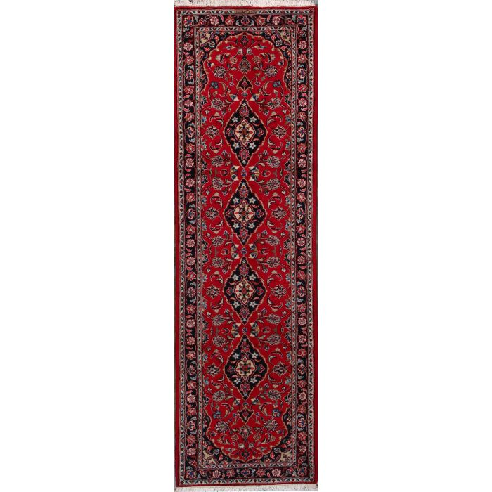 "https://www.armanrugs.com/ | 3' 3"" x 9' 5"" Red Kashan Hand Knotted Wool Authentic Persian Rug"