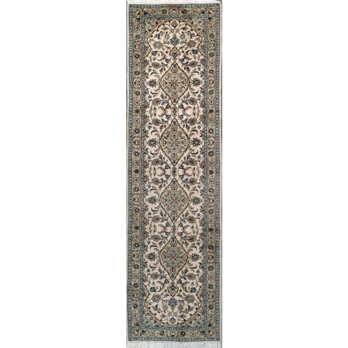 """https://www.armanrugs.com/   2' 7"""" x 10' 2"""" Beige Kashan Hand Knotted Wool Authentic Runner Persian Rug"""
