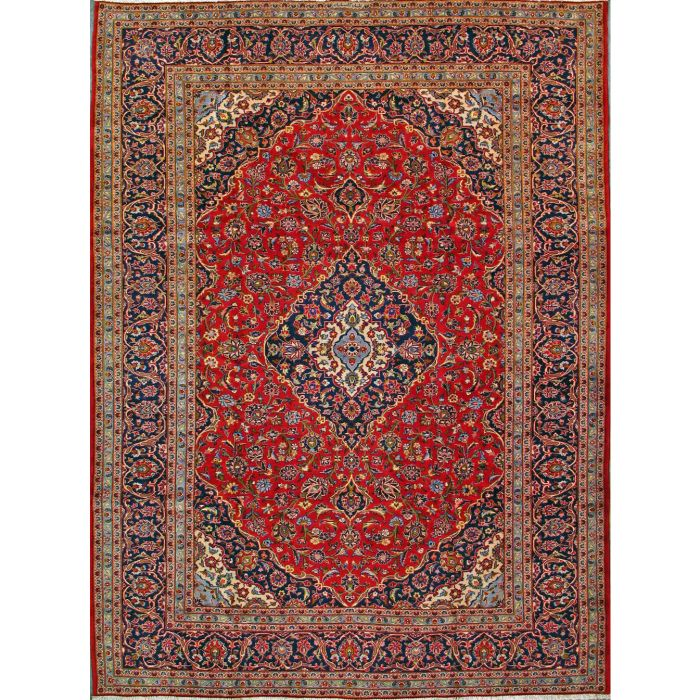 "https://www.armanrugs.com/ | 8' 0"" x 11' 4"" Red Kashan Hand Knotted Wool Authentic Persian Rug"