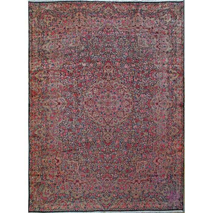 """https://www.armanrugs.com/   9' 10"""" x 13' 3"""" Navy Blue kerman Hand Knotted Wool Authentic Persian Rug"""