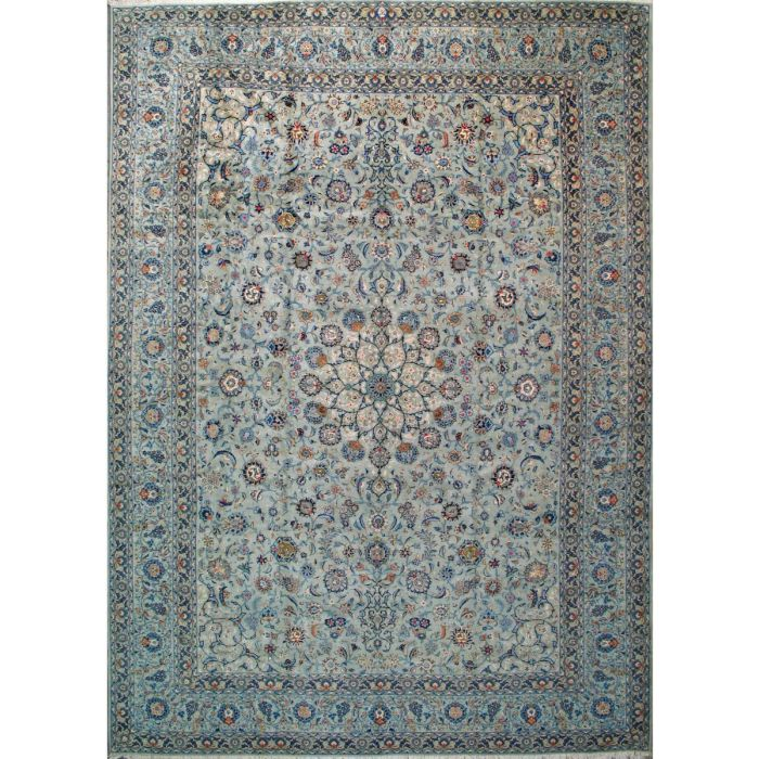"https://www.armanrugs.com/ | 12' 6"" x 17' 2"" Blue Kashan Hand Knotted Wool Authentic Persian Rug"
