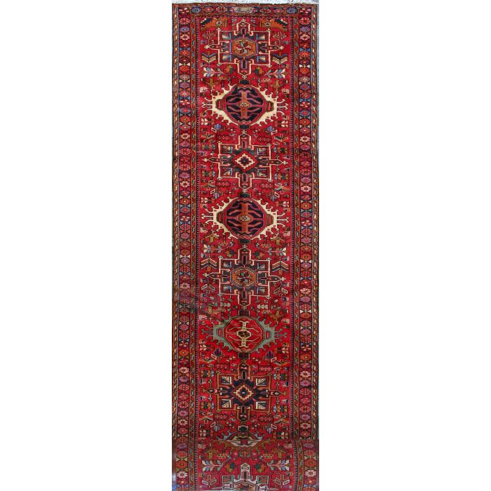 """https://www.armanrugs.com/   2' 9"""" x 32' 9"""" Red Gharajeh Hand Knotted Wool Authentic Persian Rug"""