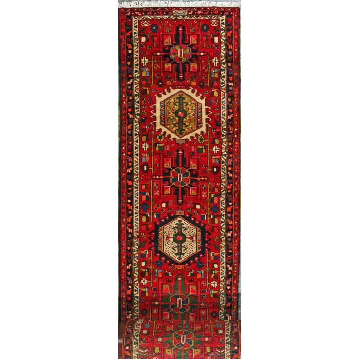 "https://www.armanrugs.com/ | 2' 9"" x 47' 7"" Red Gharajeh Hand Knotted Wool Authentic Persian Rug"
