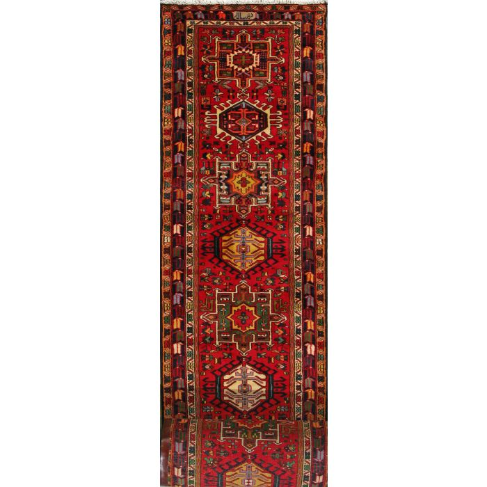 "https://www.armanrugs.com/ | 2' 8"" x 38' 4"" Red Gharajeh Hand Knotted Wool Authentic Persian Rug"