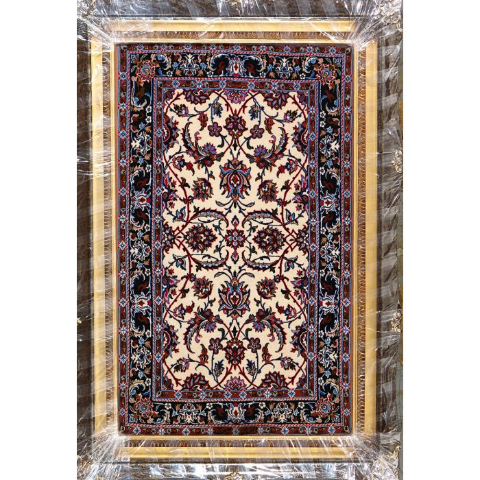 """https://www.armanrugs.com/   2' 4"""" x 3' 10"""" Beige Esfahan Hand Knotted Wool & Silk Authentic Persian Rug"""