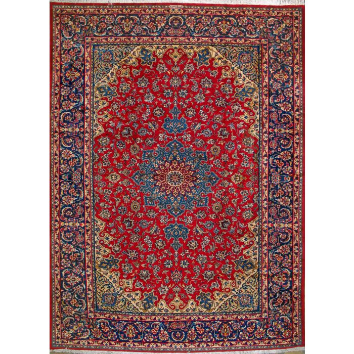 "https://www.armanrugs.com/ | 9' 8"" x 13' 5"" Red Esfahan Hand Knotted Wool Authentic Persian Rug"