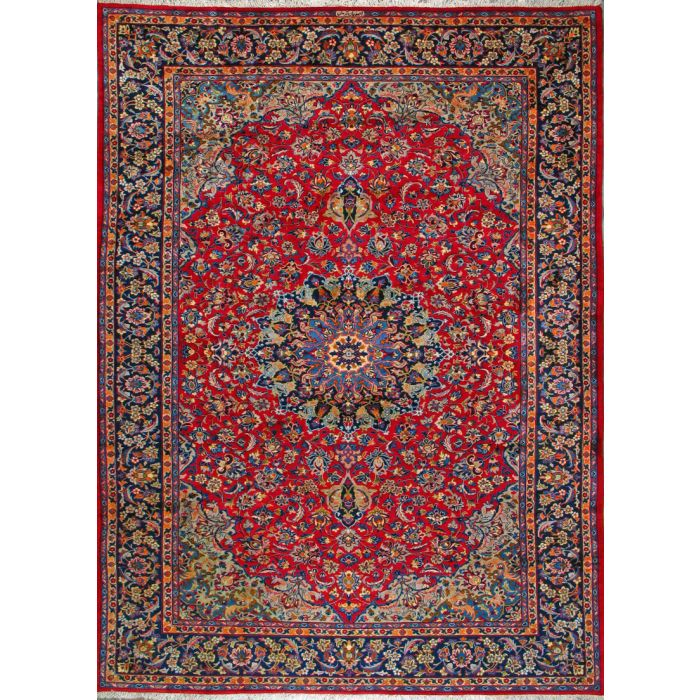 """https://www.armanrugs.com/   9' 0"""" x 12' 8""""  Red Esfahan Hand Knotted Wool Authentic Persian Rug"""