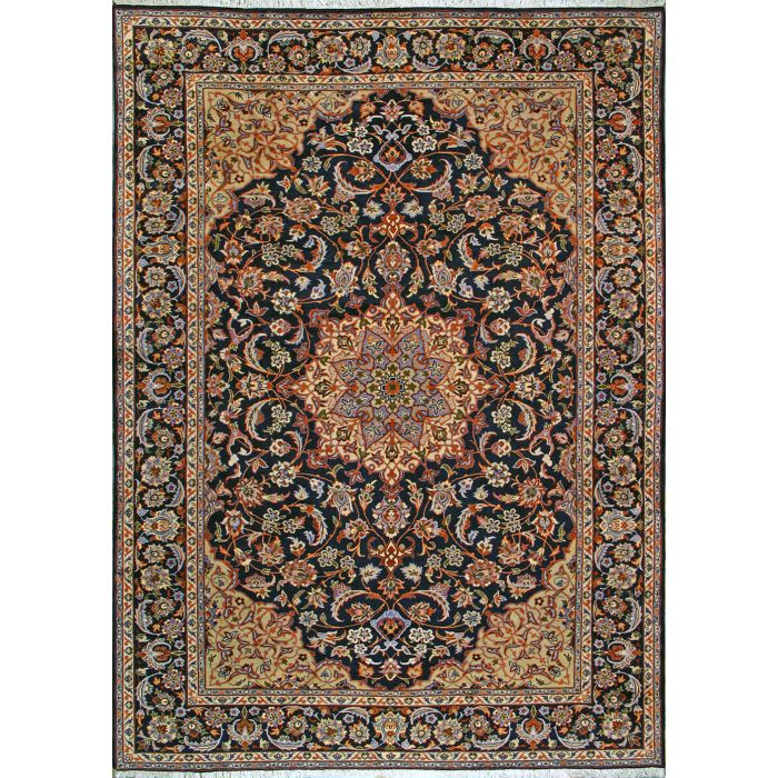 "https://www.armanrugs.com/ | 8' 10"" x 12' 7"" Navy Blue Esfahan Hand Knotted Wool Authentic Persian Rug"