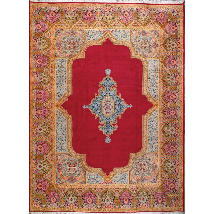 """https://www.armanrugs.com/   9' 7"""" x 13' 3"""" Red kerman Hand Knotted Wool Authentic Persian Rug"""