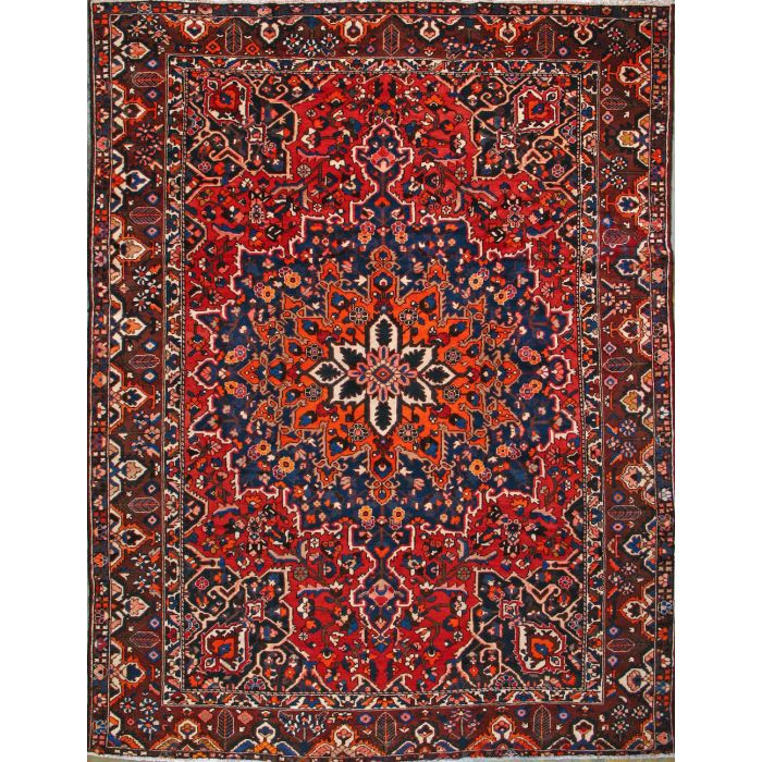 "https://www.armanrugs.com/ | 10' 0"" x 13' 0"" Red Bakhtiari Hand Knotted Wool Authentic Persian Rug"