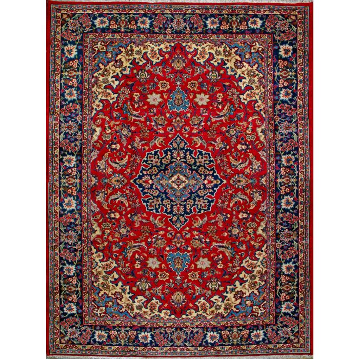 "https://www.armanrugs.com/ | 9' 0"" x 12' 6"" Red Esfahan Hand Knotted Wool Authentic Persian Rug"