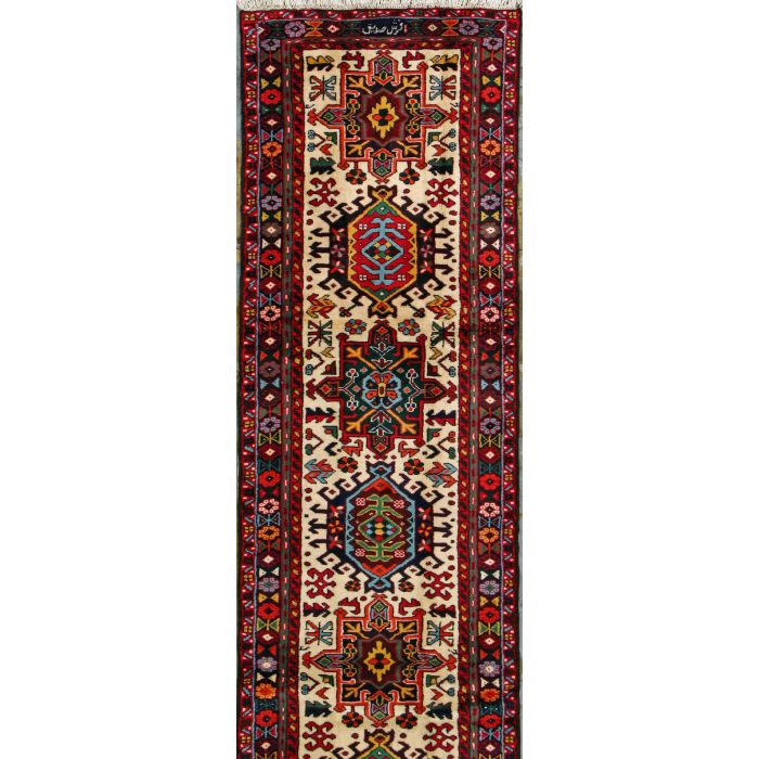 "https://www.armanrugs.com/ | 2' 8"" x 39' 3"" Ivory Gharajeh Hand Knotted Wool Authentic Persian Rug"