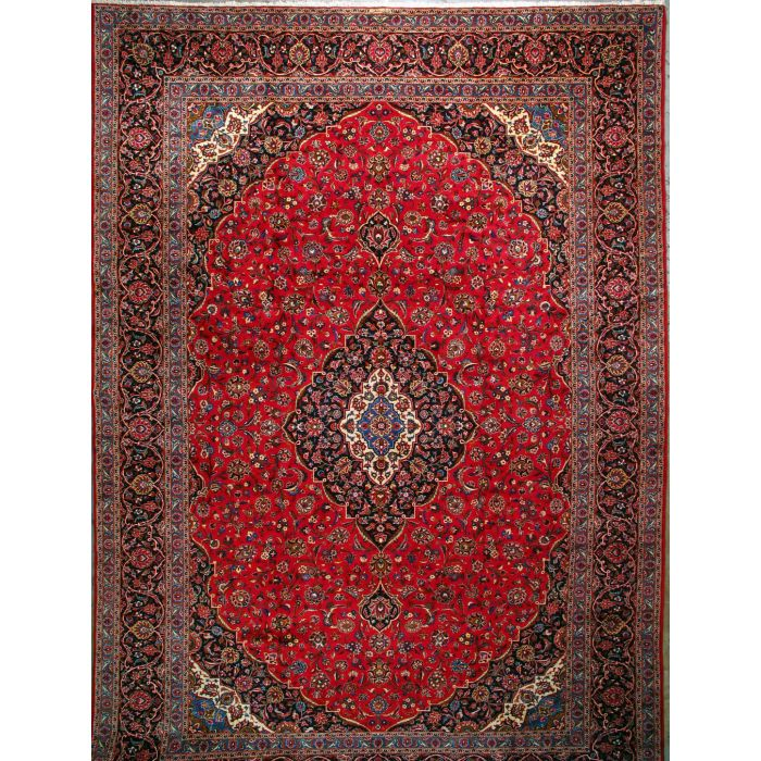 """https://www.armanrugs.com/   13' 4"""" x 19' 6""""  Red Kashan Hand Knotted Wool Authentic Persian Rug"""