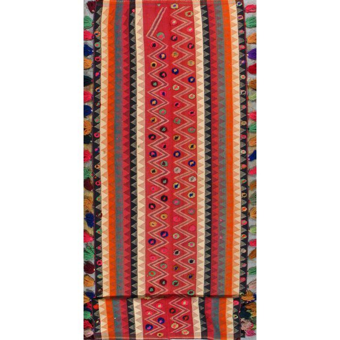 "https://www.armanrugs.com/   3' 7"" x 12' 8"" Red kilim Handmade Wool Authentic Runner Persian Rug"