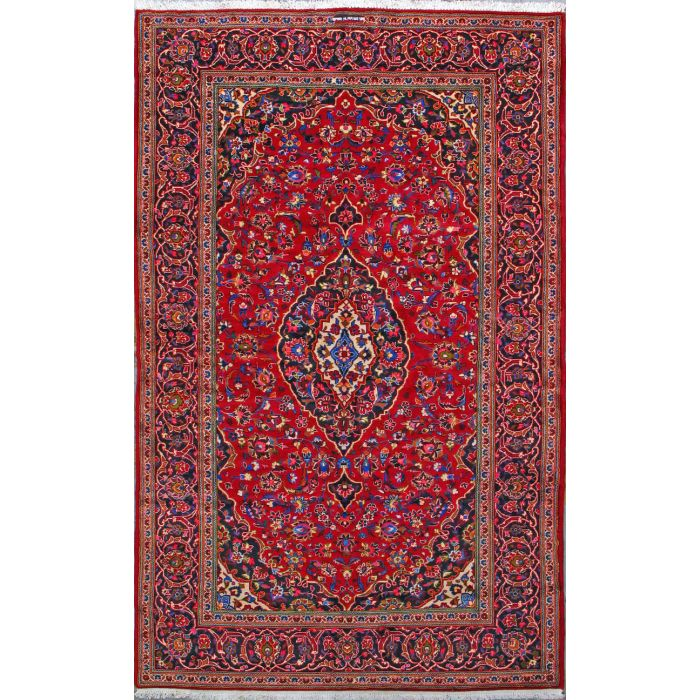 """https://www.armanrugs.com/   6' 7"""" x 10' 8"""" Red Kashan Hand Knotted Wool Authentic Persian Rug"""