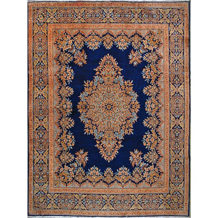 "https://www.armanrugs.com/ | 9' 9"" x 13' 1"" Navy Blue kerman Hand Knotted Wool Authentic Persian Rug"