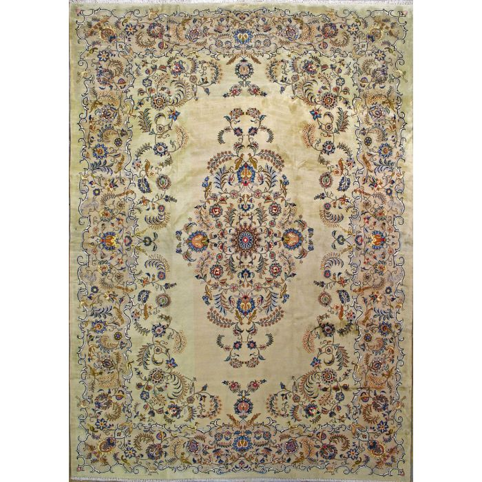"""https://www.armanrugs.com/   9' 4"""" x 13'  Green Kashan Hand Knotted Wool Authentic Persian Rug"""