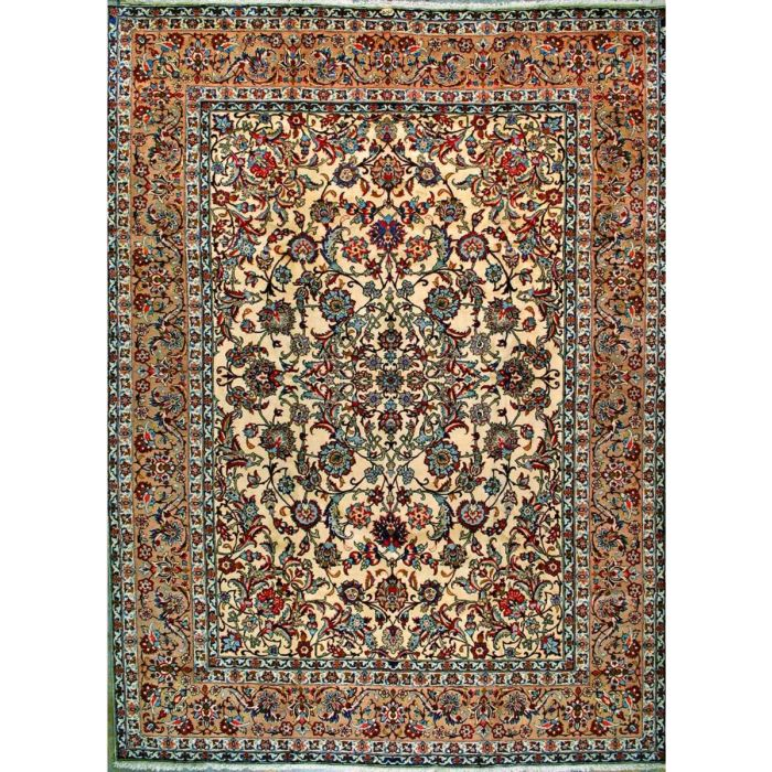 """https://www.armanrugs.com/   9' 10"""" x 13' 3"""" Beige Esfahan Hand Knotted Wool Authentic Persian Rug"""