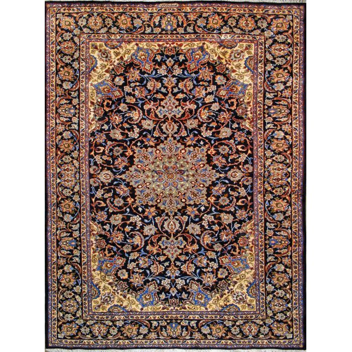 "https://www.armanrugs.com/ | 8' 10"" x 12' 2"" Navy Blue Esfahan Hand Knotted Wool Authentic Persian Rug"