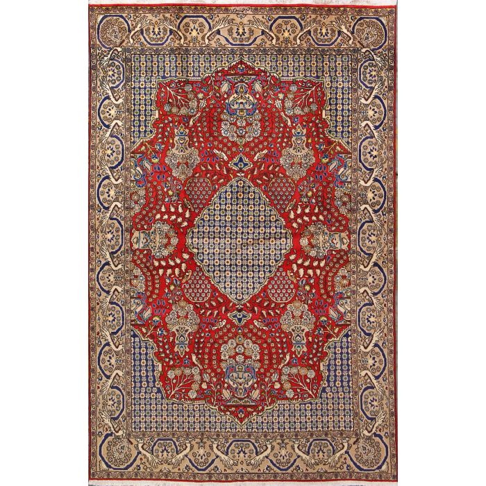 "https://www.armanrugs.com/ | 4' 5"" x 6' 10"" Red Qum Hand Knotted Wool Authentic Persian Rug"