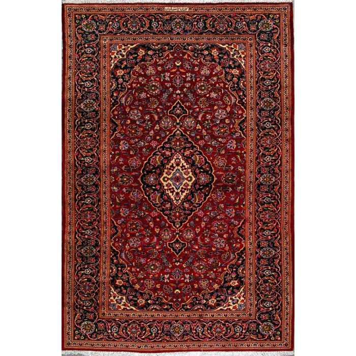 """https://www.armanrugs.com/   6' 10"""" x 10' 7"""" Red Kashan Hand Knotted Wool Authentic Persian Rug"""