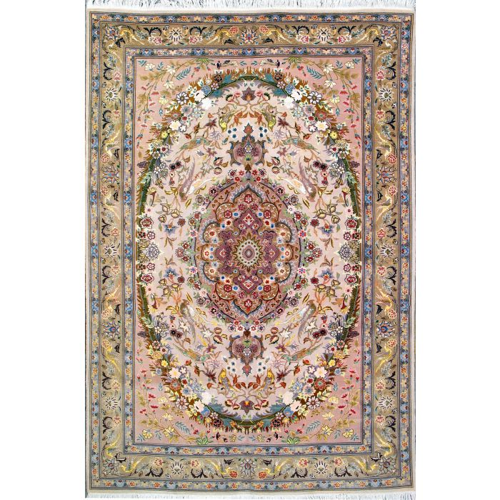"https://www.armanrugs.com/ | 6' 7"" x 9' 8"" Beige Tabriz Hand Knotted Wool & Silk Authentic Persian Rug"