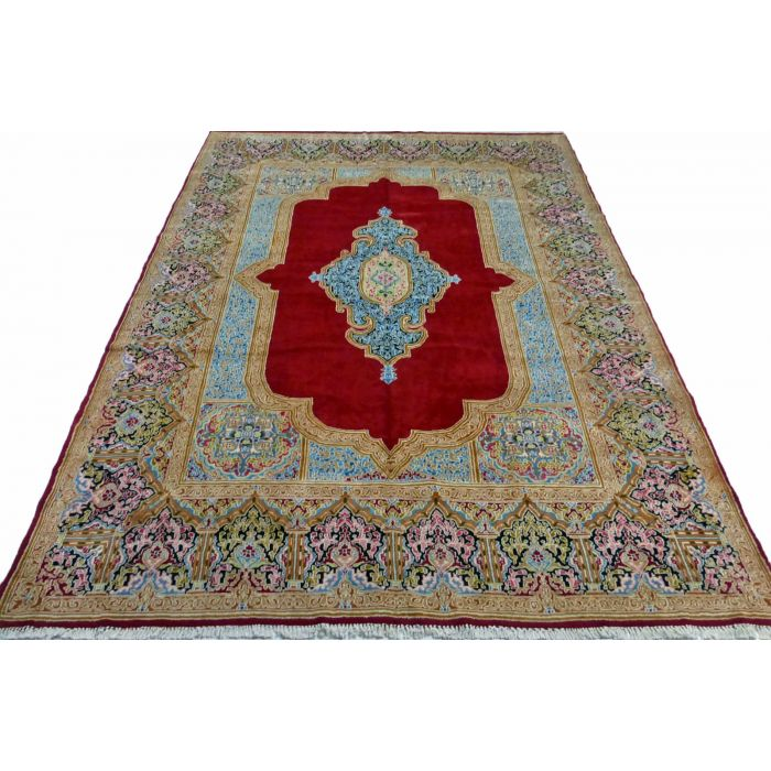 "https://www.armanrugs.com/ | 9' 4"" x 12' 10"" Red kerman Hand Knotted Wool Authentic Persian Rug"