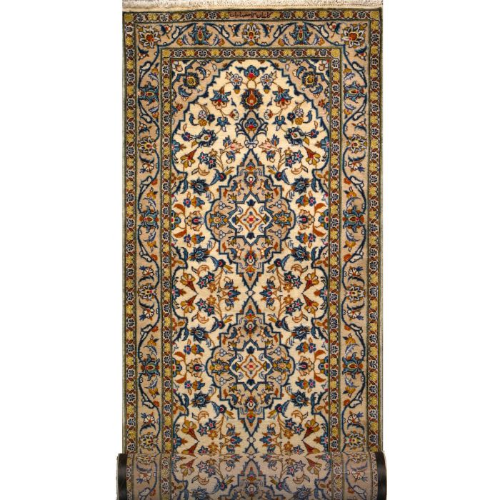 "https://www.armanrugs.com/ | 3' 2"" x 14' 3"" Beige Kashan Hand Knotted Wool Authentic Persian Rug"