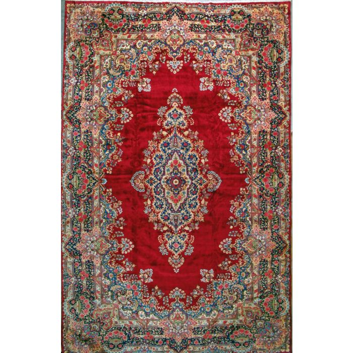 """https://www.armanrugs.com/   11' 8"""" x 18' 4"""" Red kerman Hand Knotted Wool Authentic Persian Rug"""