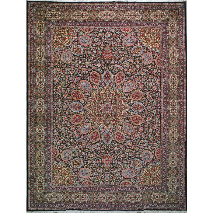 """https://www.armanrugs.com/   12' 2"""" x 15' 9"""" Navy Blue kerman Hand Knotted Wool Antique  Persian Rug"""