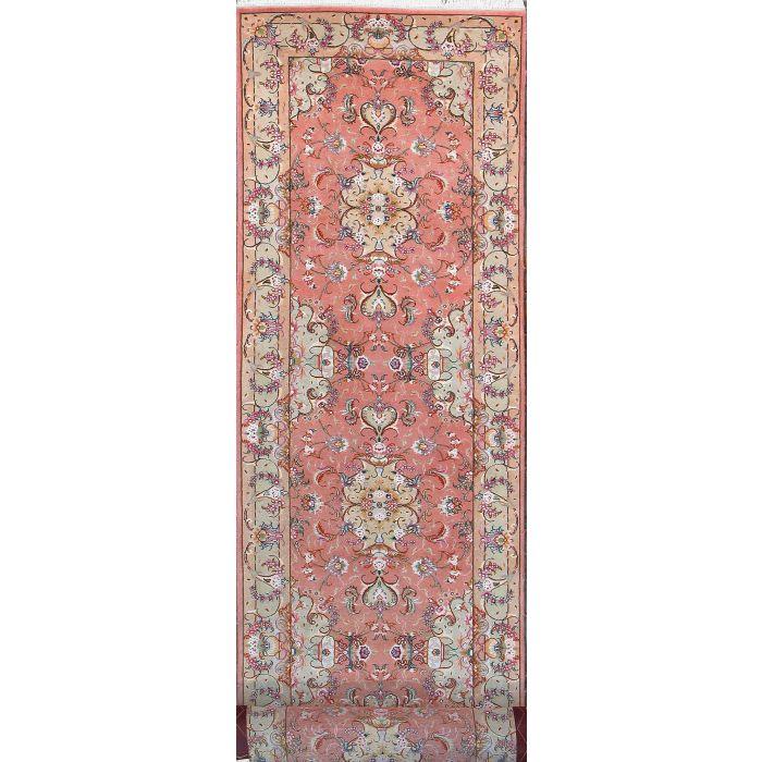 "https://www.armanrugs.com/ | 2' 7"" x 15' 9"" Peach Tabriz Hand Knotted Wool & Silk Authentic Persian Rug"