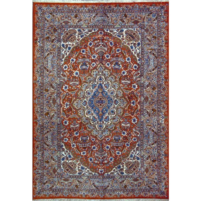 "https://www.armanrugs.com/ | 6' 6"" x 9' 7"" Orange  kashmar Hand Knotted Wool Authentic Persian Rug"